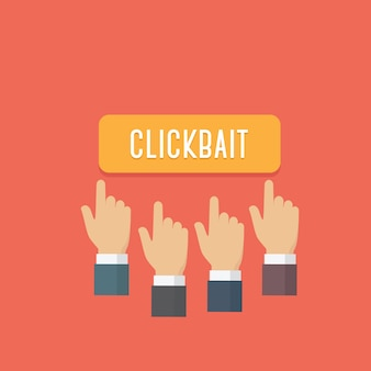 People hands press clickbait button. sharing site and social media bait content