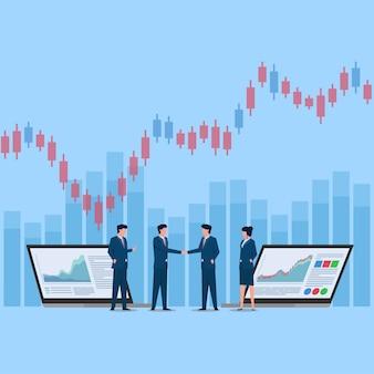 チャート上の株価上昇のために人々が握手します。ビジネスフラットイラスト。