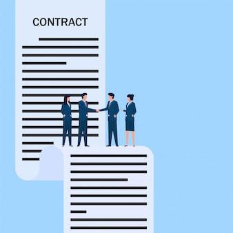 人々は合意のために契約書を握手します。ビジネスフラットの概念図。