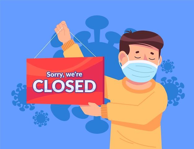 コロナウイルスのために閉じた看板をぶら下げている人々