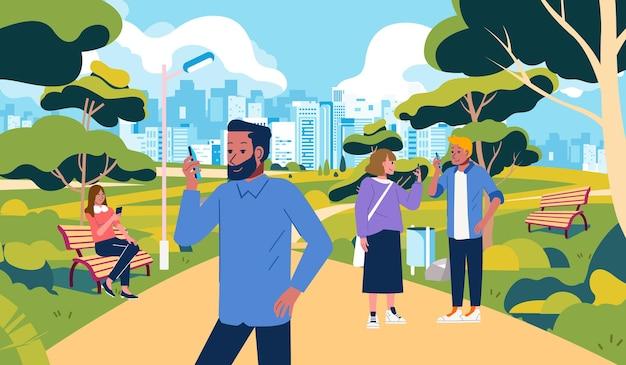 人々は公園でたむろしているが、自分のスマートフォン公園の屋外イラストで忙しい