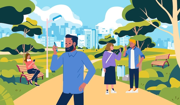 People hangout at park but busy with their own smartphone park outdoor illustration