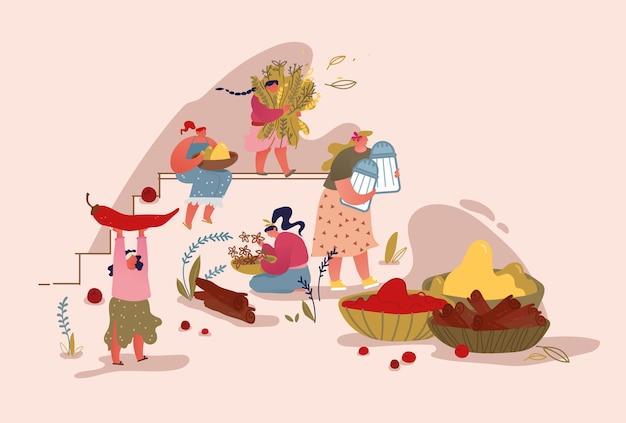 市場でスパイスやハーブを収穫して販売する人々。アーユルヴェーダ食品成分の概念