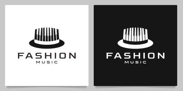 People hat musician and piano keys logo design creative concepts