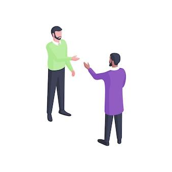 Люди обсуждают изометрические иллюстрации. два персонажа мужского пола в зеленой и фиолетовой одежде увлеченно ведут диалог с помощью жестов. обдумывание рабочей концепции дружеских диалогов.