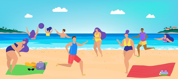 People have fun at beach,   illustration. holiday vacation at sea resort, sun sea shore with character man and woman.