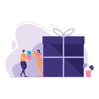 People have gift box illustration