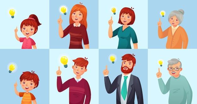 У людей есть решение, метафора лампочки идей. девочки и мальчики, подростки, офисные работники мужского и женского пола проводят мозговой штурм, генерируя идеи. старый дед и бабушка векторные иллюстрации