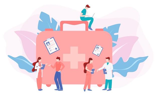 Люди на консультации с врачом. врач заботится о здоровье пациента.