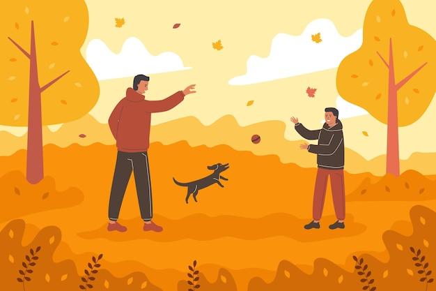 People having fun in autumn time