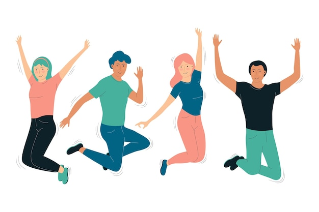People having fun flat design