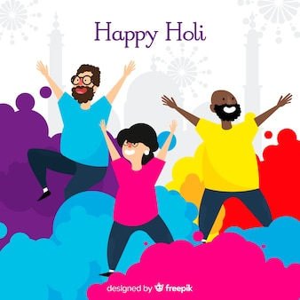 People having fun holi fesival background