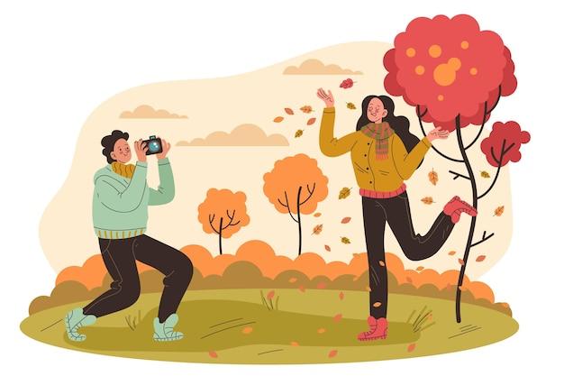 Люди веселятся в осеннее время