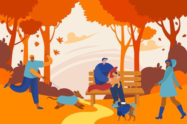 가을 시간을 즐기는 사람들