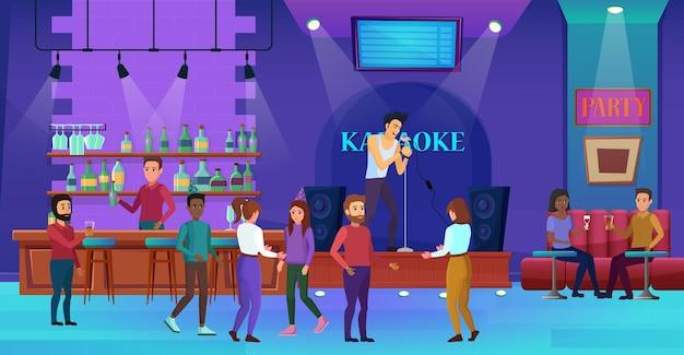 Люди веселятся в караоке, ночном клубе, баре, вечеринке