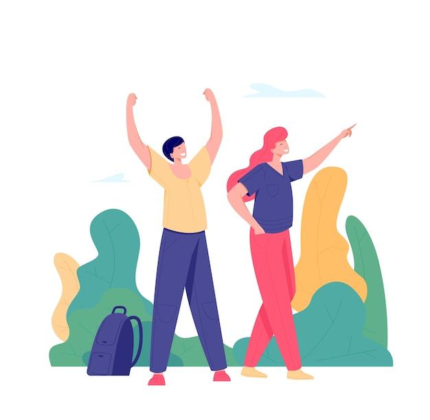 成功を収めている人々は、木の背景に腕を上げてポーズをとったり、ゴールを達成したりします。旅行、冒険、または遠征のコンセプト。フラットスタイルのイラスト。