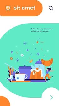 Люди веселятся на чаепитии. мультфильм мужчины и женщины, наслаждаясь горячим напитком, печеньем, круассаном, десертом