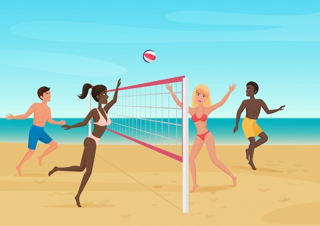 People having fun playing volleyball on the beach illustration. active seabeach sport.