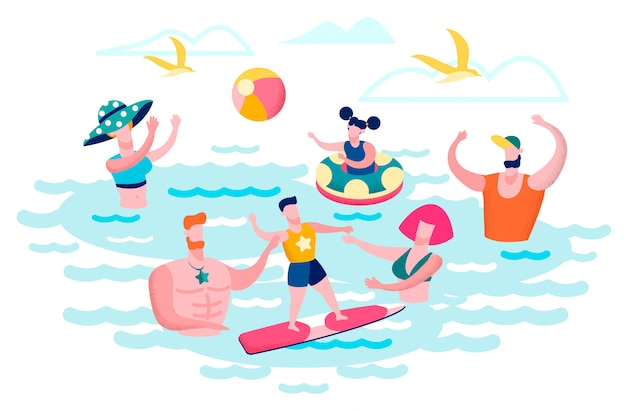 People having fun in sea water flat vector concept