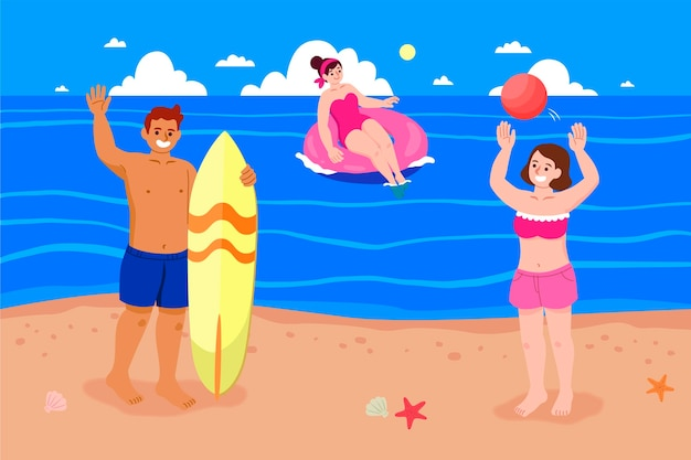 Persone che si divertono in spiaggia