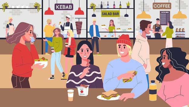 Люди обедают в фуд-корте. женские и мужские персонажи едят разную вкусную еду. разнообразная кухня в одном месте. интерьер кафетерия торгового центра. иллюстрация.
