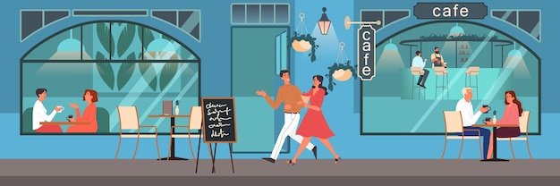 People having lunch in cafe. female and male characters drink coffee in coffee shop. business meeting in coffee shop, cafeteria interior.  illustration