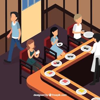寿司バーで昼食を取る人