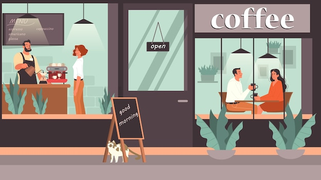 カフェで昼食をとる人。女性と男性のキャラクターがコーヒーショップでコーヒーを飲みます。コーヒーショップ、カフェテリアのインテリアでのビジネス会議やロマンチックなデート。