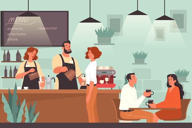 Люди обедают в кафе. женские и мужские персонажи пьют кофе в кафе. деловая встреча и романтическое свидание в кафе, интерьере кафетерия.