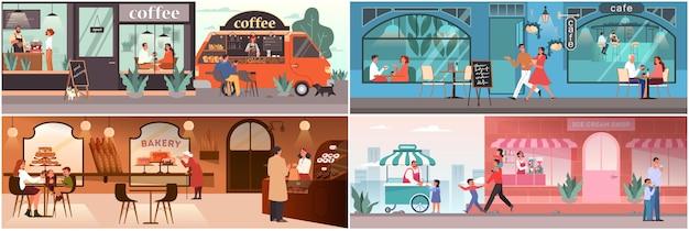 카페에서 점심을 먹는 사람들. 여성과 남성 캐릭터는 커피 숍에서 커피를 마신다. 아이스크림 가게, 카페테리아 내부의 가족. 그림의 집합입니다.