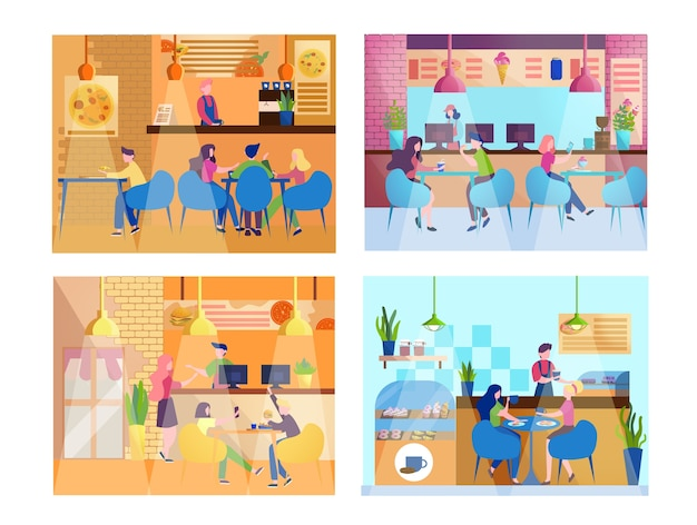 People having lunch in restaurant. female and male characters eating in cafe. teenagers having a meal in food court, cafeteria interior. set of  illustration.