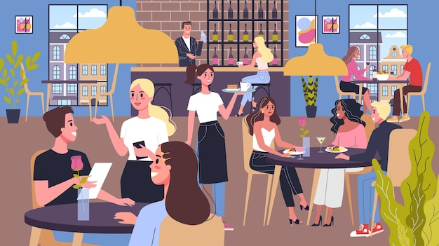 People having lunch in restaurant. female and male characters eating in cafe. waiters helps visitors. restaurant interior.  illustration.