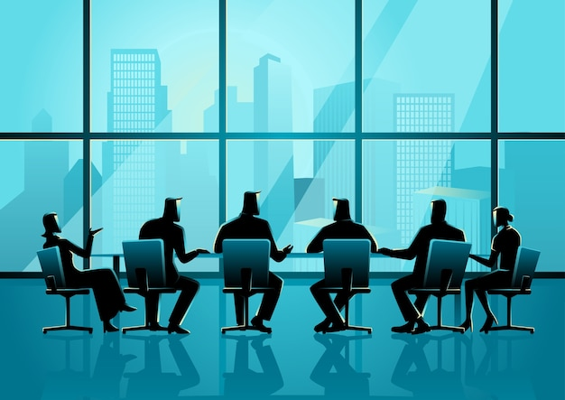 People having a meeting in executive conference room