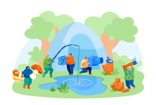 Люди, имеющие активный отдых на природе