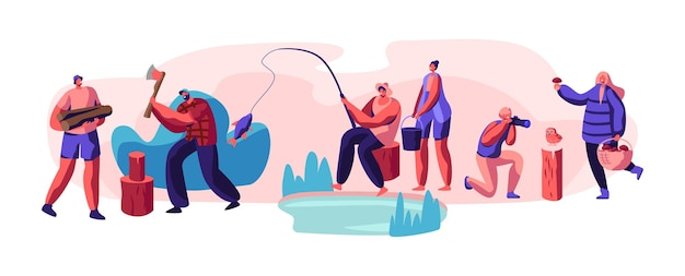 야외 활동 휴식 세트를 가진 사람들. 만화 평면 그림