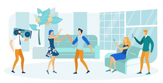 People having party in flat or apartment flat illustration.