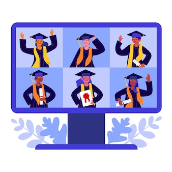 People having their graduation ceremony illustrated