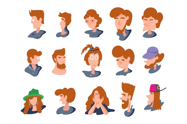 People head character isolated on white. vector illustration