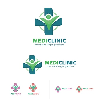 People health care logo, medical clinic emblem