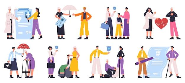 人々のヘルスケア、生命保険および医療保険の保護サービス。生命保険、医療保護ベクトルイラストセット。ヘルスケアおよび医療保険のオファー