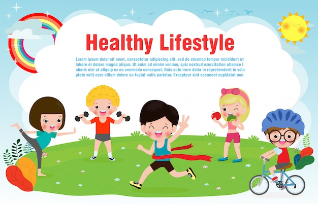 People healthy lifestyle, happy kids exercise poses and yoga asana banner