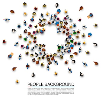 People in the heap in the form of a symbol plus. vector illustration