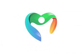 People heart vector logo