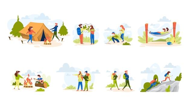 人々ハイキングセット。テントを作り、キャンプファイヤーに座って
