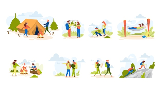People hiking set. making tent and sitting at the campfire