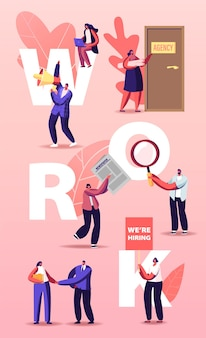 People hiring work illustration. characters searching job in newspaper ads and online