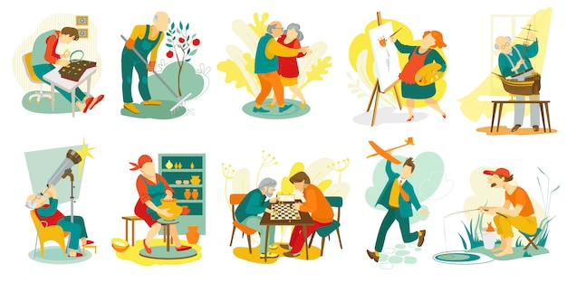 People hobby, creative artistic man and woman characters doing favorite things, set of  illustration. art, music, chess playing, dance leisure and recreation for senior. drawing, sculping hobby.