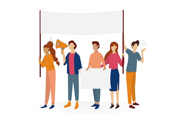 People hold banner. group of character with blank empty board for message. advertising concept.   illustration in cartoon style