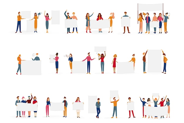 People hold banner set. collection of group of character with blank empty board for message. advertising concept.   illustration in cartoon style