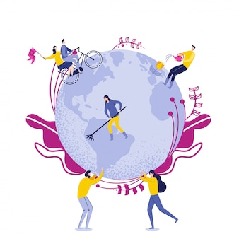 People hold globe with workers caring of earth.
